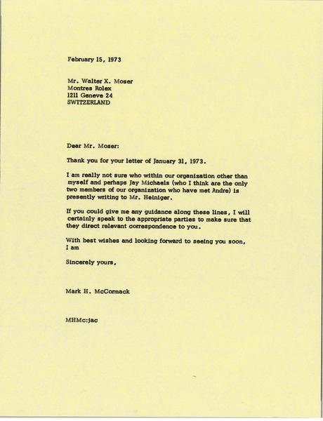 Letter from Mark H. McCormack to Walter X. Moser, February 15, 1973