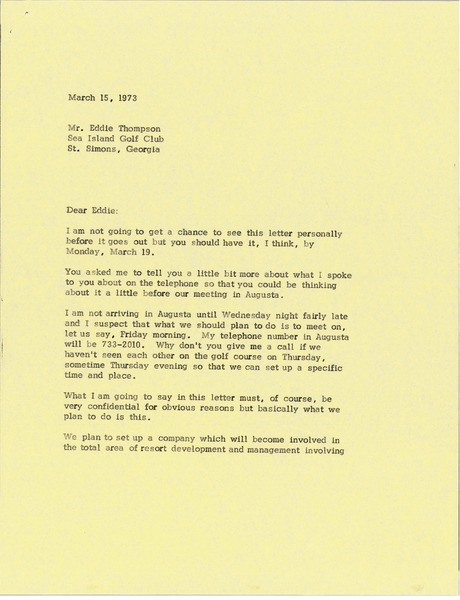 Letter from Mark H. McCormack to Eddie Thompson, March 15, 1973