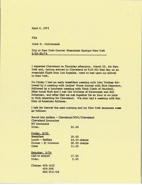 Memorandum from Mark H. McCormack concerning his trips from March 22 to 29, 1973, April 2, 1973