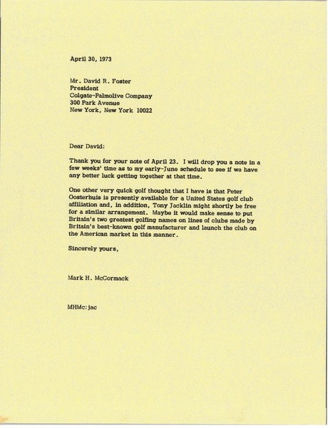 Letter from Mark H. McCormack to David R. Foster, April 30, 1973