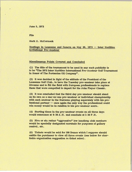 Memorandum from Mark H. McCormack to Inter Maritime Invitational Pro-Amateur             file, June 5, 1973
