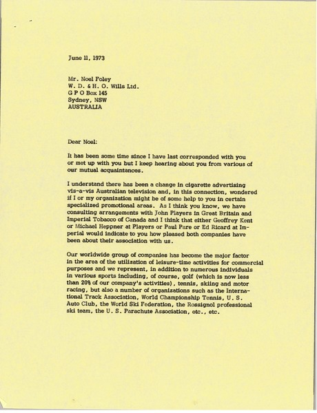 Letter from Mark H. McCormack to Noel Foley, June 11, 1973