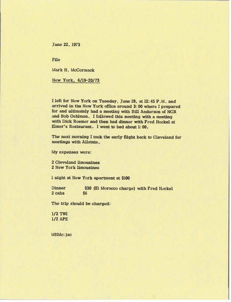 Memorandum from Mark H. McCormack to travel file, June 22, 1973