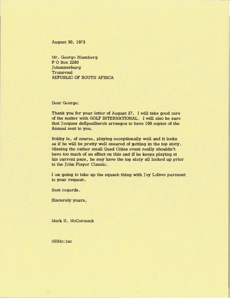 Letter from Mark H. McCormack to George Blumberg, August 30, 1973