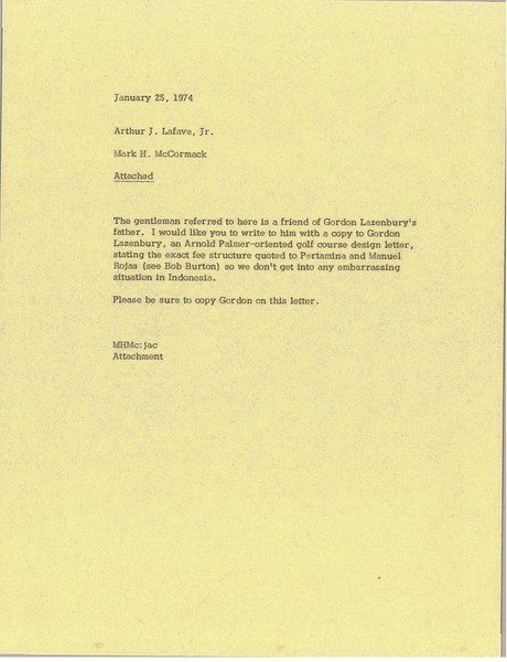 Memorandum from Mark H. McCormack to Arthur J. Lafave Jr., January 25, 1974