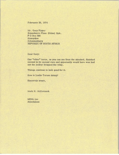 Letter from Mark H. McCormack to Gary Player, February 20, 1974