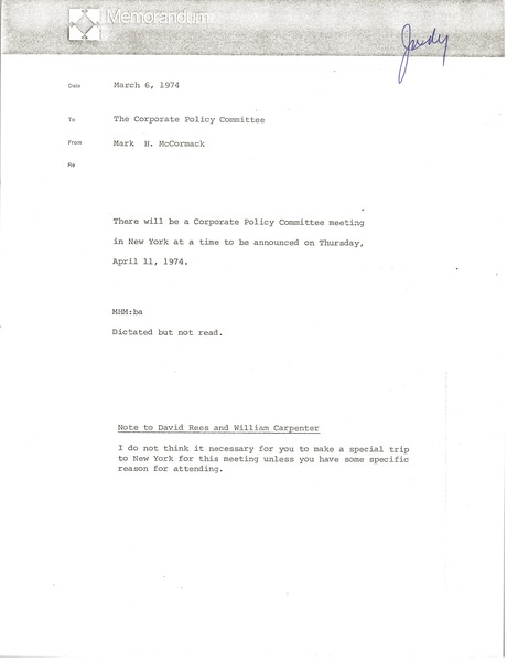 Memorandum from Mark H. McCormack to corporate policy committee, March 6, 1974