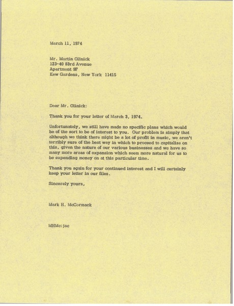 Letter from Mark H. McCormack to Martin Olinick, March 11, 1974