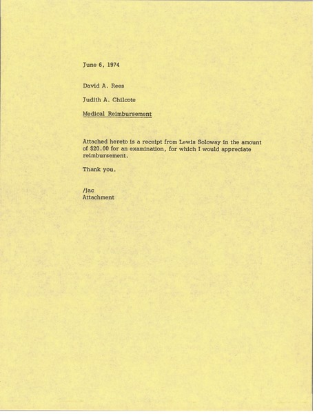 Memorandum from Judy A. Chilcote to David A. Rees, June 6, 1974