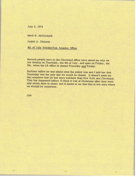 Memorandum from Judy Chilcote to Mark H. McCormack, July 3, 1974