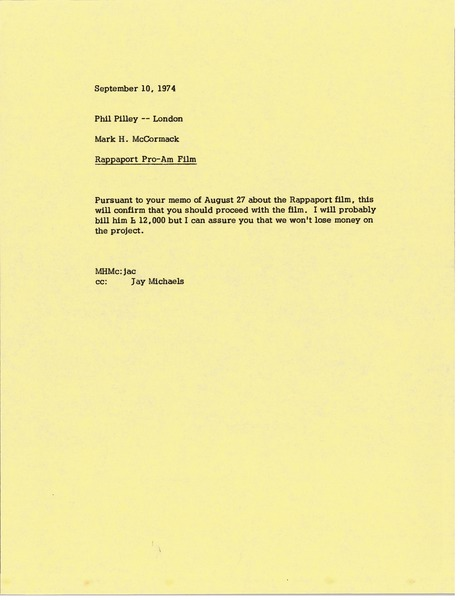 Memorandum from Mark H. McCormack to Phil Pilley, September 10, 1974