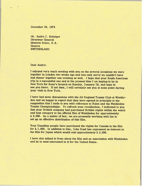 Letter from Mark H. McCormack to Andre J. Heiniger, December 24, 1974