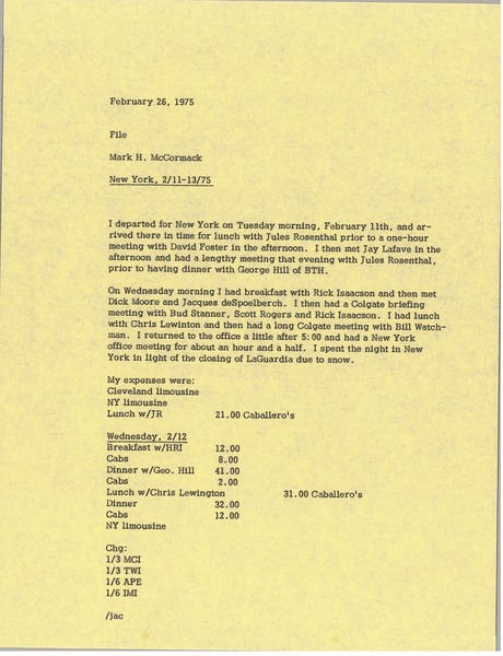 Memorandum from Mark H. McCormack to file, February 26, 1975