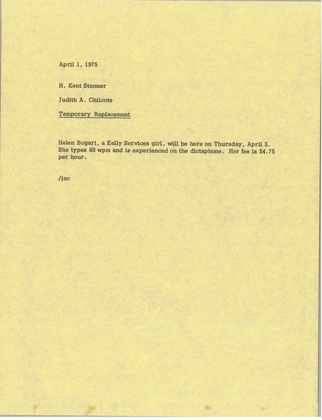 Memorandum from Judy A. Chilcote to H. Kent Stanner, April 1, 1975