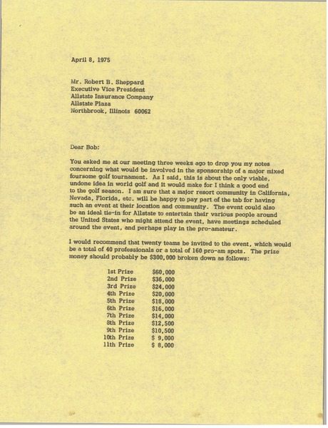 Letter from Mark H. McCormack to Robert B. Sheppard, April 8, 1975