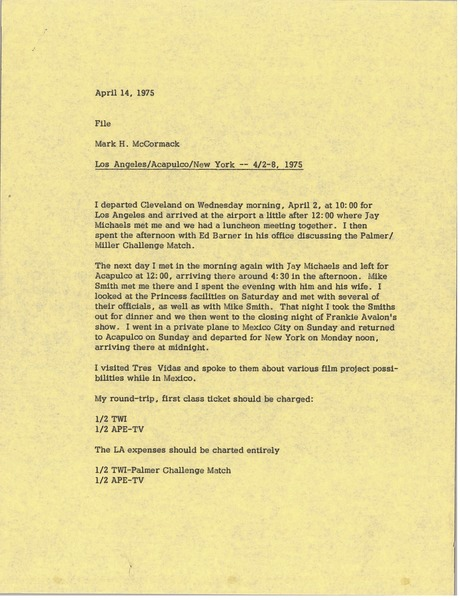 Memorandum from Mark H. McCormack to file, April 14, 1975