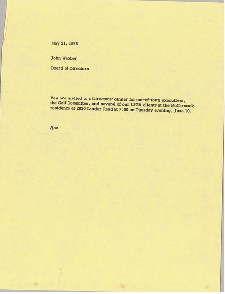 Memorandum from Board of Directors to John Webber, May 21, 1975