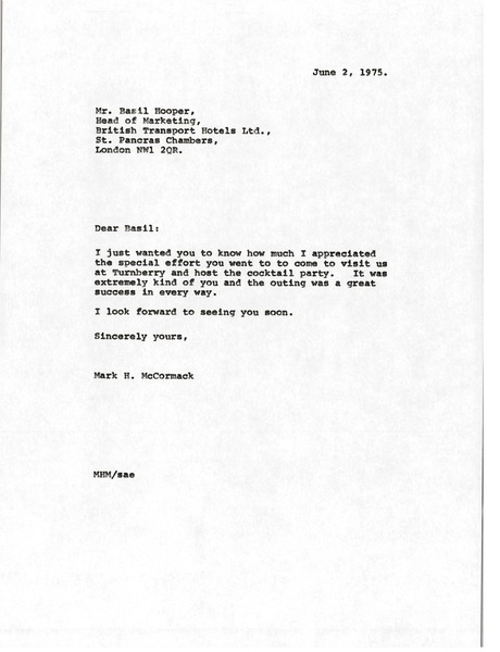 Letter from Mark H. McCormack to Basil Hooper, June 2, 1975