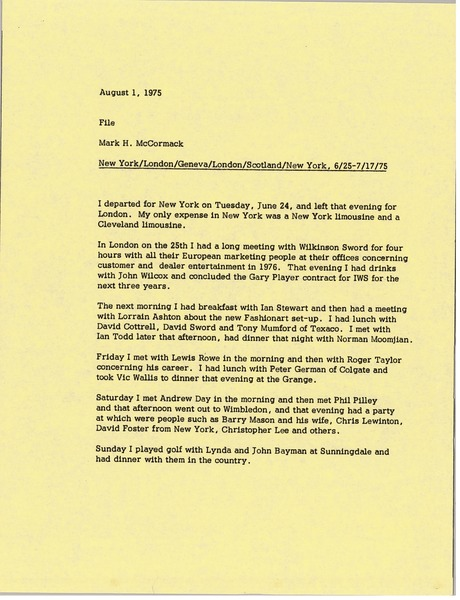 Memorandum from Mark H. McCormack to travel file, August 1, 1975