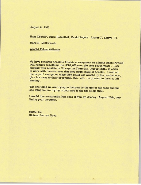 Memorandum from Mark H. McCormack to Hans Kramer, Jules Rosenthal, David Rogers             and Arthur J. Lafave, August 6, 1975