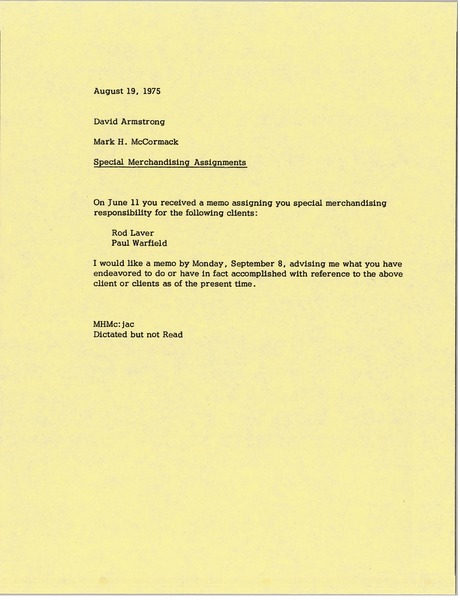 Memorandum from Mark H. McCormack to David Armstrong, August 19, 1975