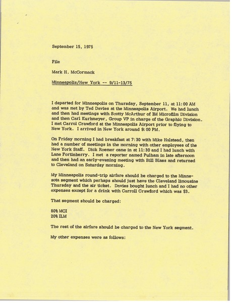 Memorandum from Mark H. McCormack concerning his trips to Minneapolis and New York from September 11 to 13, 1975, September 15, 1975