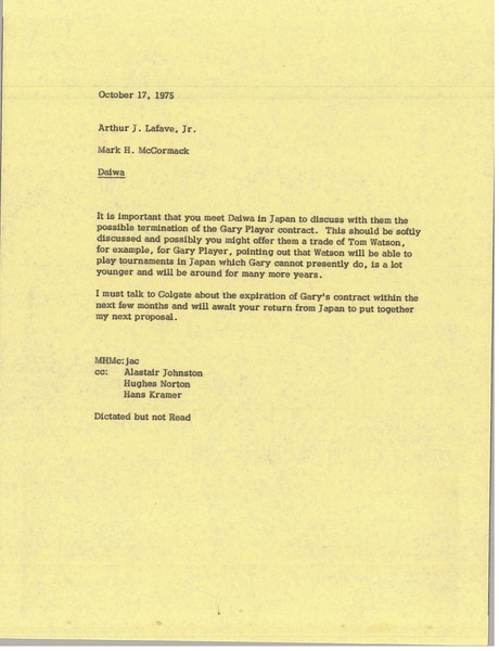 Memorandum from Mark H. McCormack to Arthur J. Lafave, October 17, 1975