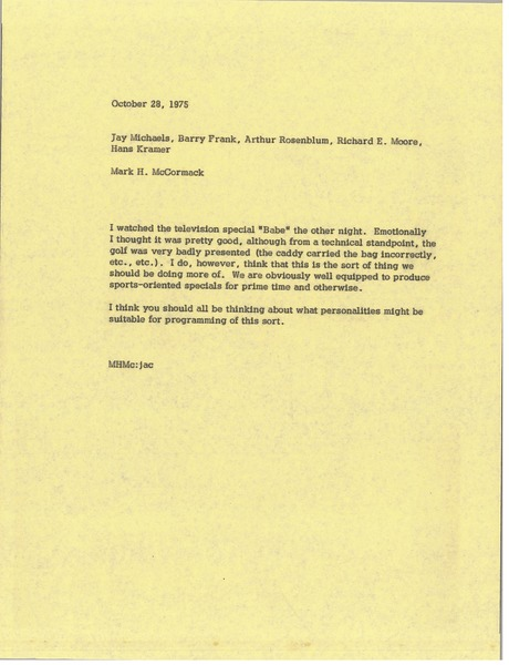 Memorandum from Mark H. McCormack to Jay Michaels, October 28, 1975