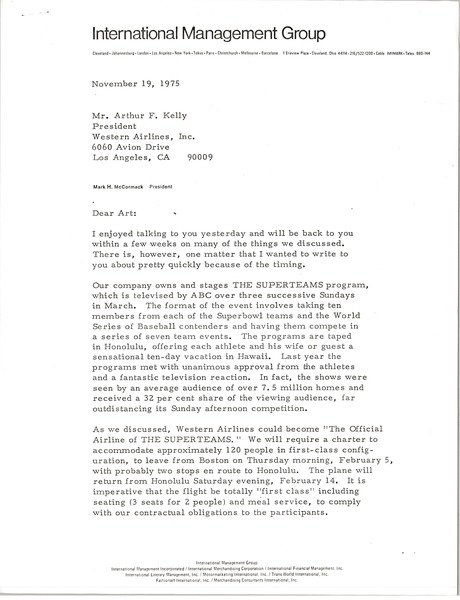 Letter from Mark H. McCormack to Arthur F. Kelly, November 18, 1975