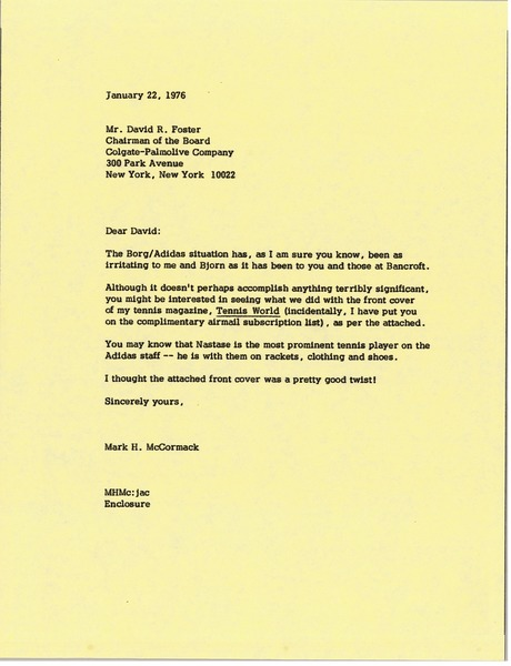 Letter from Mark H. McCormack to David R. Foster, January 22, 1976