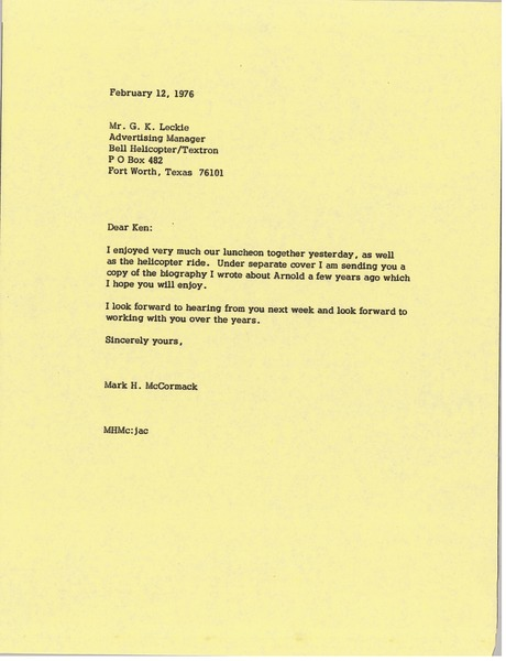 Letter from Mark H. McCormack to G. K. Leckie, February 12, 1976