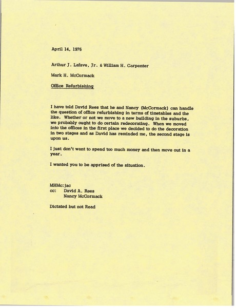 Memorandum from Mark H. McCormack to Arthur J. Lafave and William H. Carpenter, April 14, 1976