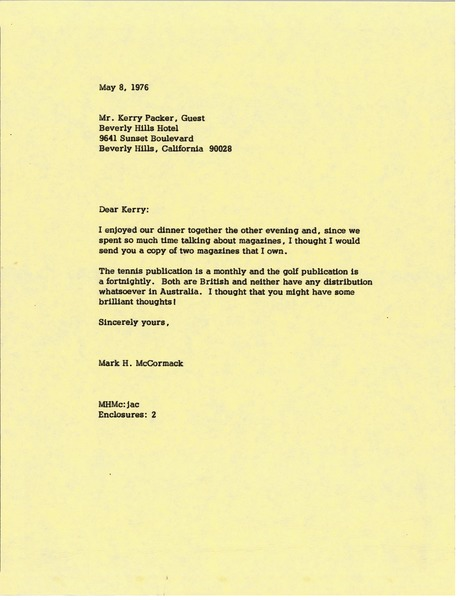 Letter from Mark H. McCormack to Kerry Packer, May 8, 1976