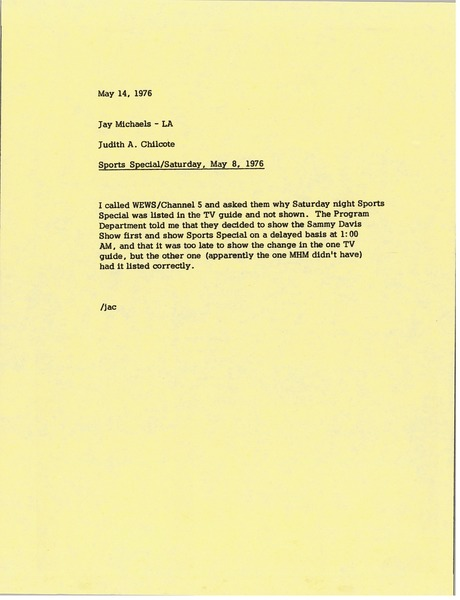 Memorandum from Judy A. Chilcote to Jay Michaels, May 14, 1976