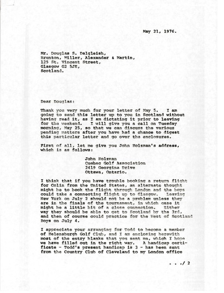 Letter from Mark H. McCormack to Douglas S. Dalgleish, May 21, 1976