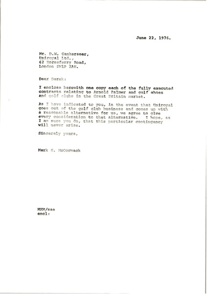 Letter from Mark H. McCormack to D. W. Gankerseer, June 22, 1976