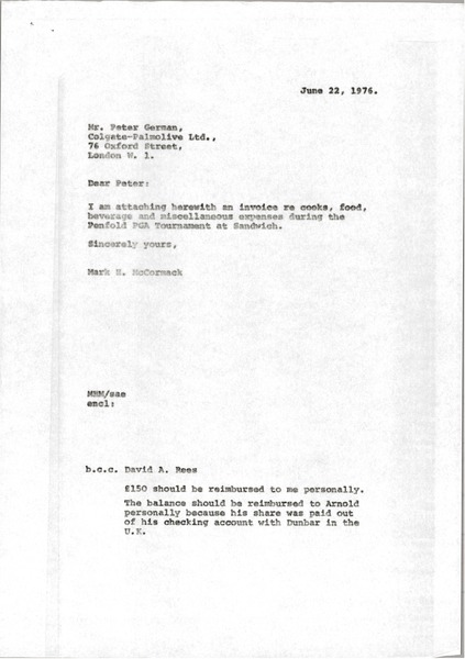 Letter from Mark H. McCormack to Peter German, June 22, 1976