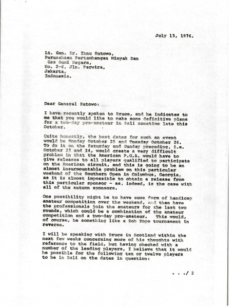 Letter from Mark H. McCormack to Ibnu Sutowo, July 13, 1976