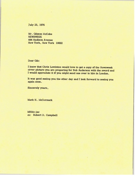 Letter from Mark H. McCormack to Gibson McCabe, July 23, 1976