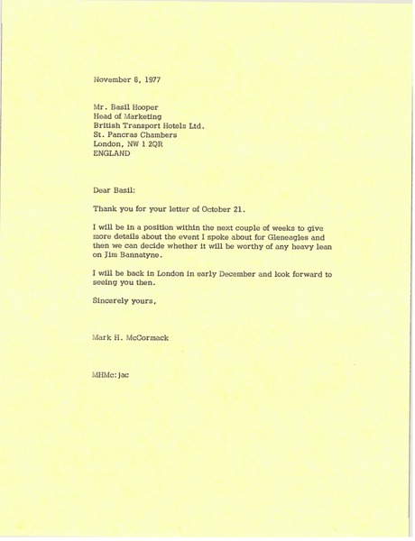 Letter from Mark H. McCormack to Basil Hooper, November 8, 1976