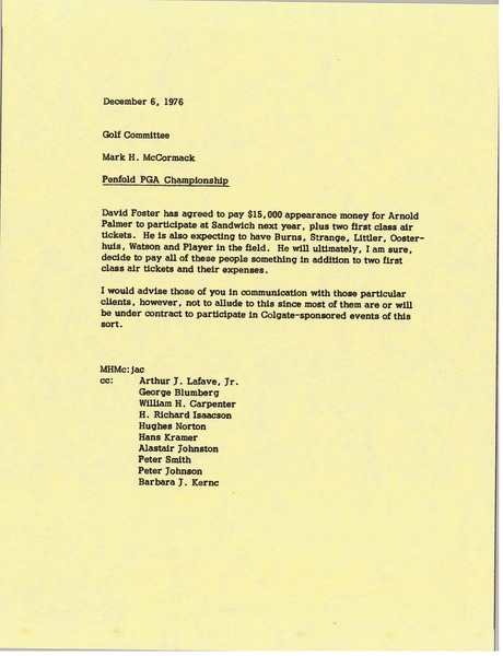 Memorandum from Mark H. McCormack to the Golf Committee concerning the Penfold PGA Championship, December 6, 1976