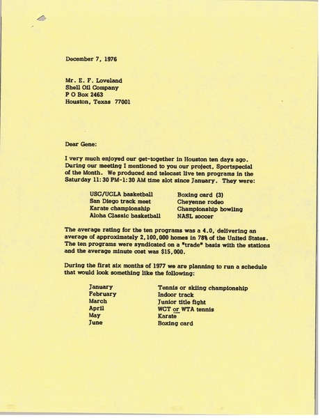 Letter from Mark H. McCormack to E. F. Loveland, December 7, 1976