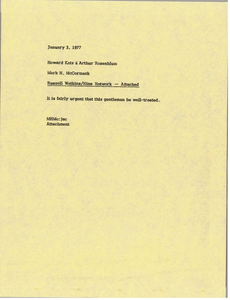 Memorandum from Mark H. McCormack to Howard Katz and Arthur Rosenblum, January 3, 1977