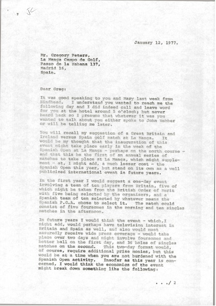 Letter from Mark H. McCormack to Gregory Peters, January 12, 1977
