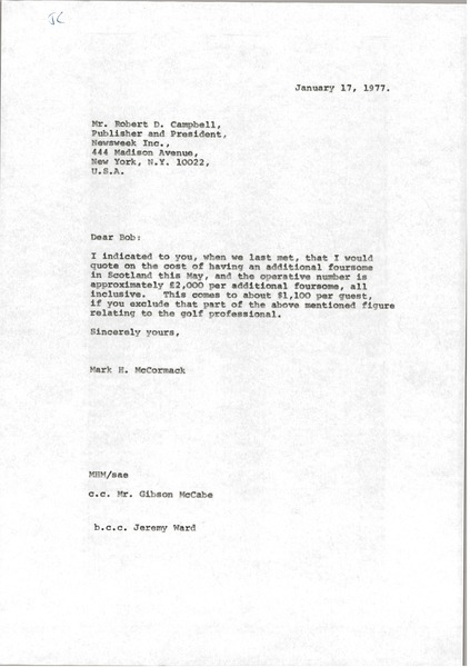 Letter from Mark H. McCormack to Robert D. Campbell, January 17, 1977