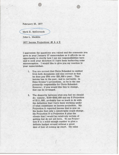 Memorandum from John L. Macklin to Mark H. McCormack, February 25, 1977