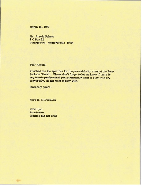 Letter from Mark H. McCormack to Arnold Palmer, March 16, 1977