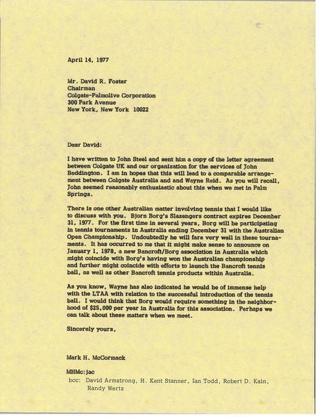 Letter from Mark H. McCormack to David R. Foster, April 14, 1977