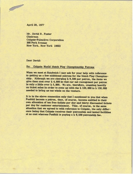 Letter from Mark H. McCormack to David R. Foster, April 28, 1977