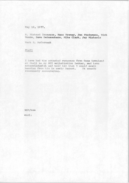 Memorandum from Mark H. McCormack to H. Richard Isaacson, Hans Kramer, Jan Steinmann, Dick Moore, Dave DeBusschere, Mike Clark and Jay Michaels, May 18, 1977